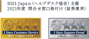 HDI-Japan(ヘルプデスク協会)主催2019年度 問合せ窓口格付け(証券業界)